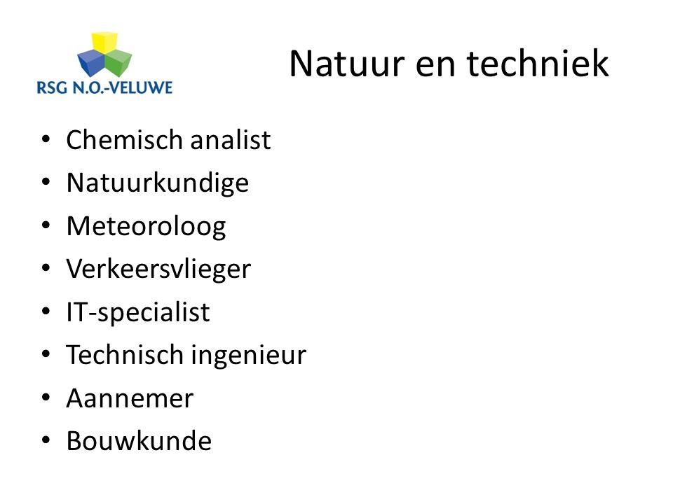 Natuur en techniek Chemisch analist Natuurkundige Meteoroloog