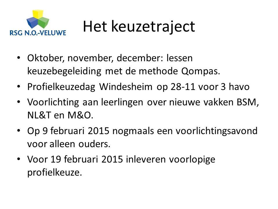 Het keuzetraject Oktober, november, december: lessen keuzebegeleiding met de methode Qompas. Profielkeuzedag Windesheim op 28-11 voor 3 havo.
