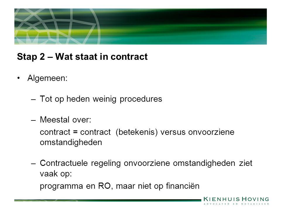 Stap 2 – Wat staat in contract