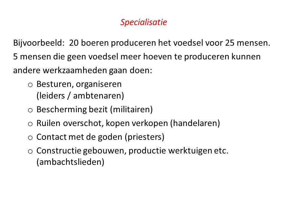 Specialisatie Bijvoorbeeld: 20 boeren produceren het voedsel voor 25 mensen. 5 mensen die geen voedsel meer hoeven te produceren kunnen.