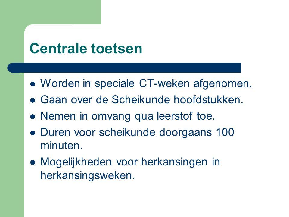 Centrale toetsen Worden in speciale CT-weken afgenomen.