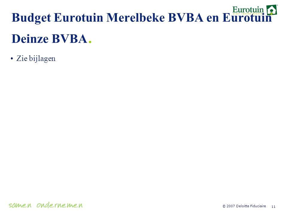 Budget Eurotuin Merelbeke BVBA en Eurotuin Deinze BVBA.