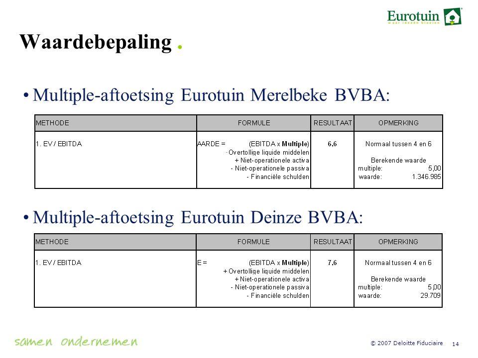 Waardebepaling . Multiple-aftoetsing Eurotuin Merelbeke BVBA: