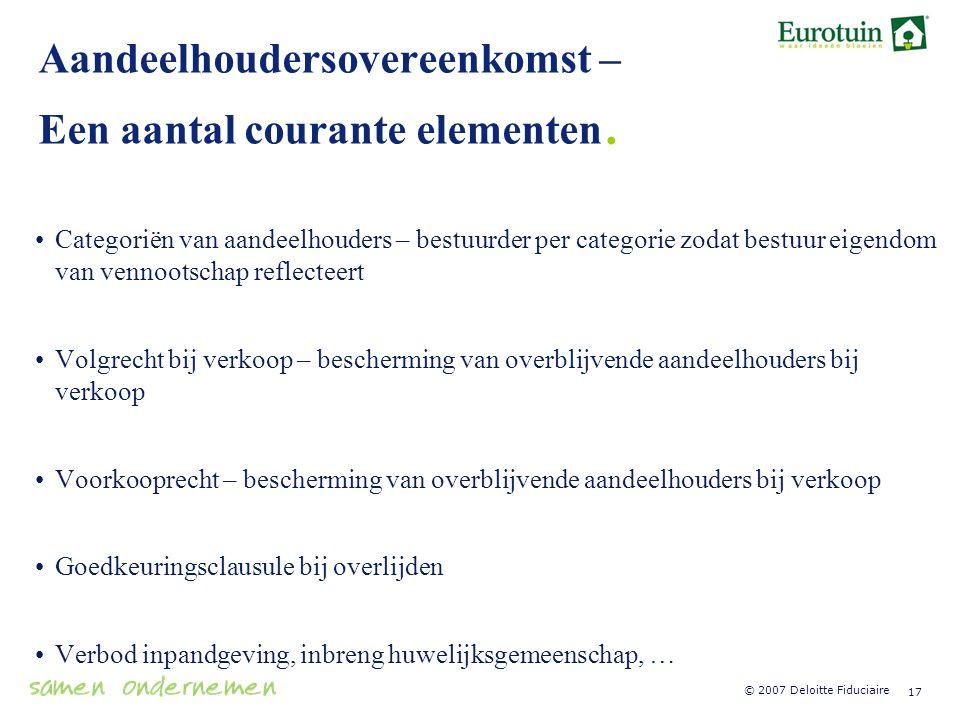 Aandeelhoudersovereenkomst – Een aantal courante elementen.