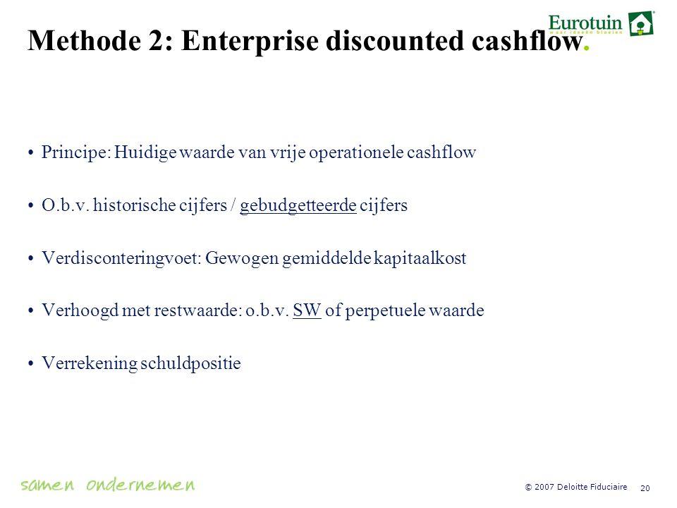 Methode 2: Enterprise discounted cashflow.