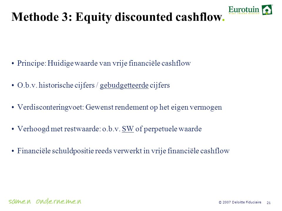 Methode 3: Equity discounted cashflow.