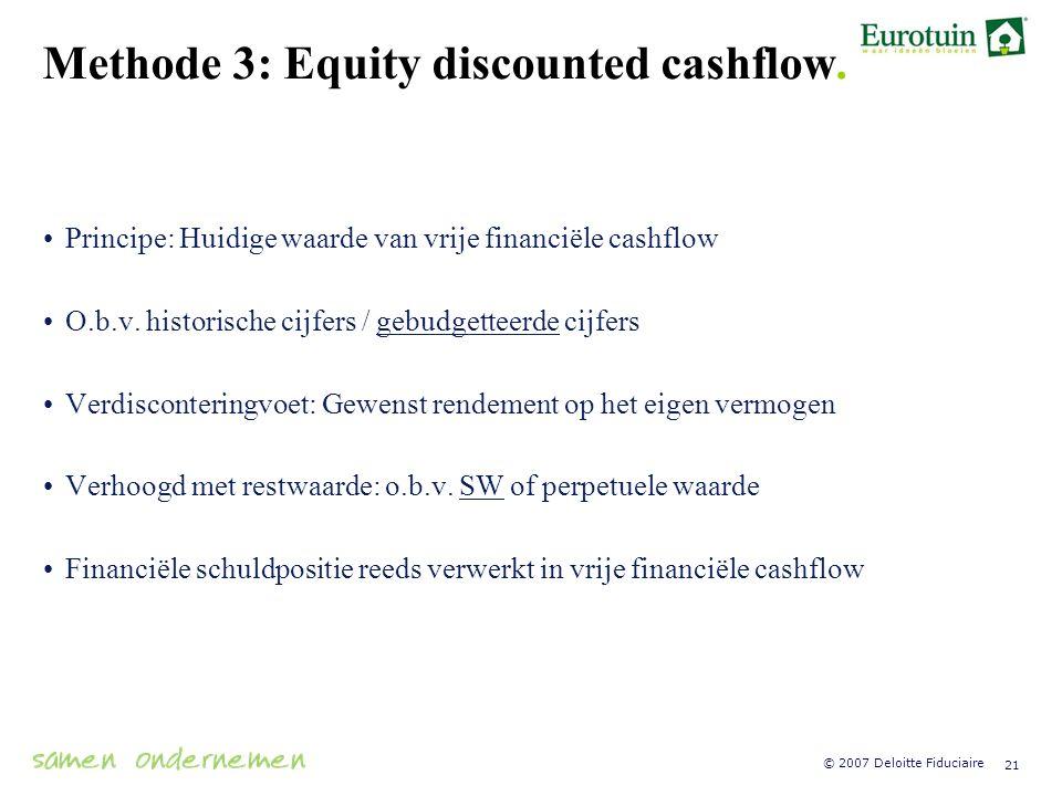 Methode 3: Equity discounted cashflow.