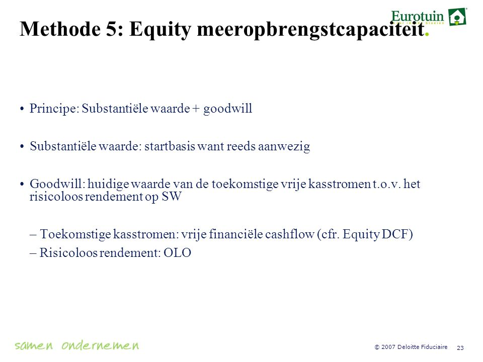 Methode 5: Equity meeropbrengstcapaciteit.