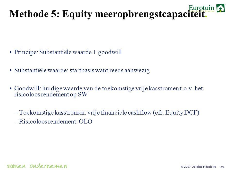 Methode 5: Equity meeropbrengstcapaciteit.