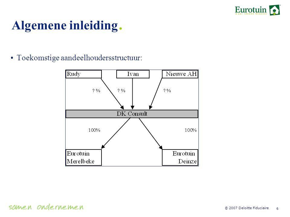 Algemene inleiding. Toekomstige aandeelhoudersstructuur: