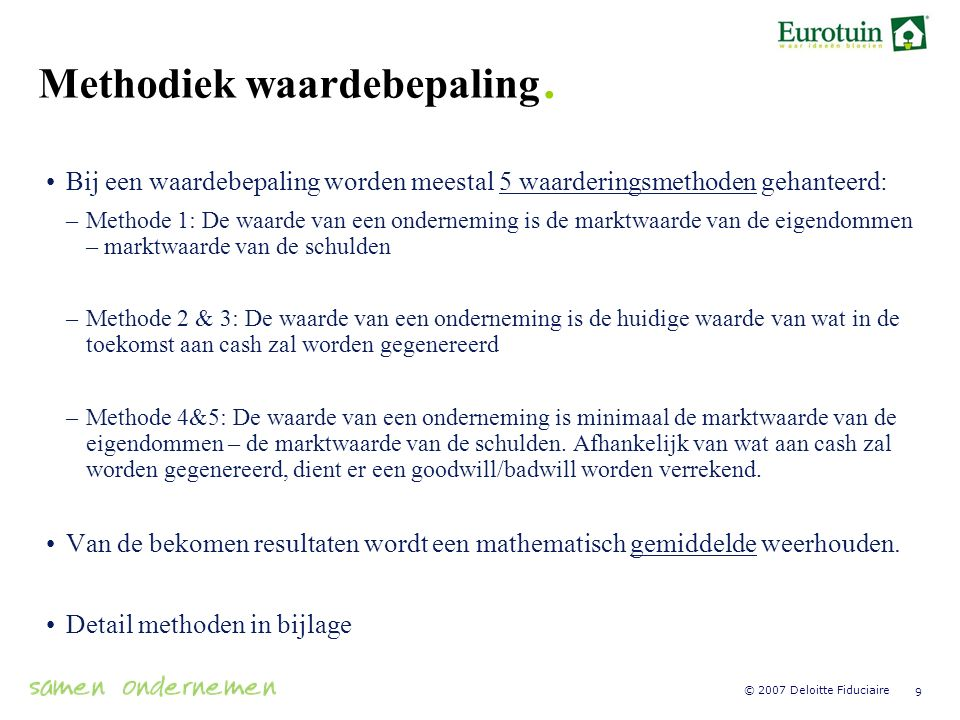 Methodiek waardebepaling.