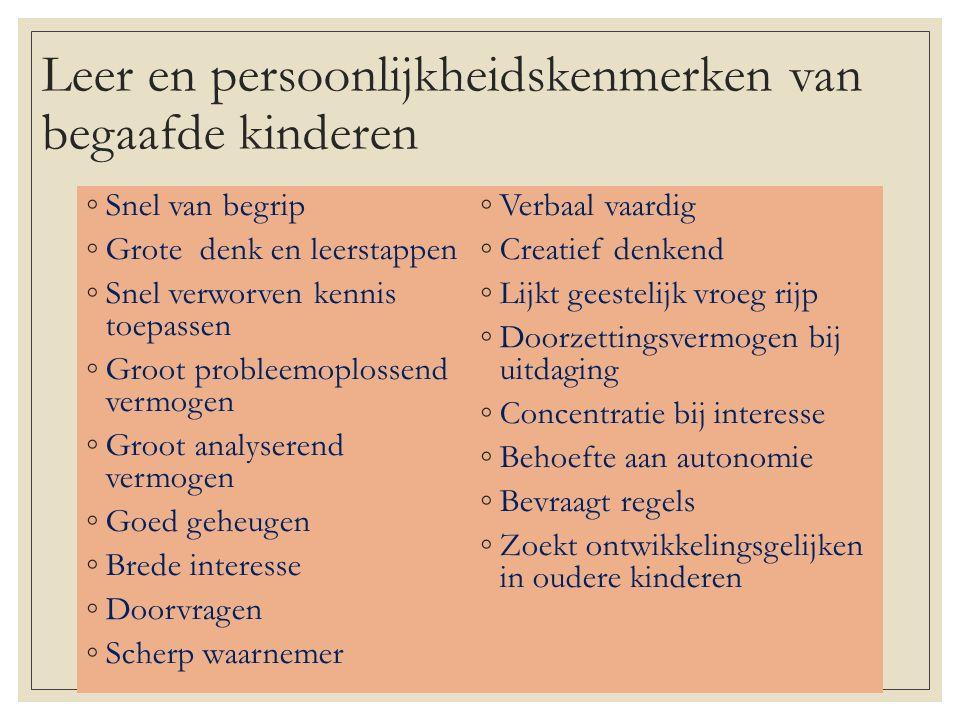 Leer en persoonlijkheidskenmerken van begaafde kinderen