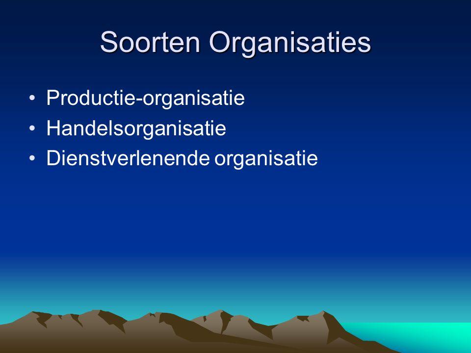 Soorten Organisaties Productie-organisatie Handelsorganisatie