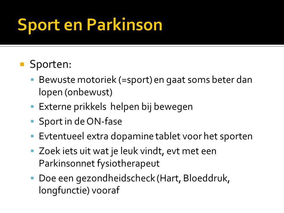 Sport en Parkinson Sporten: