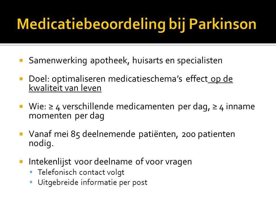 Medicatiebeoordeling bij Parkinson