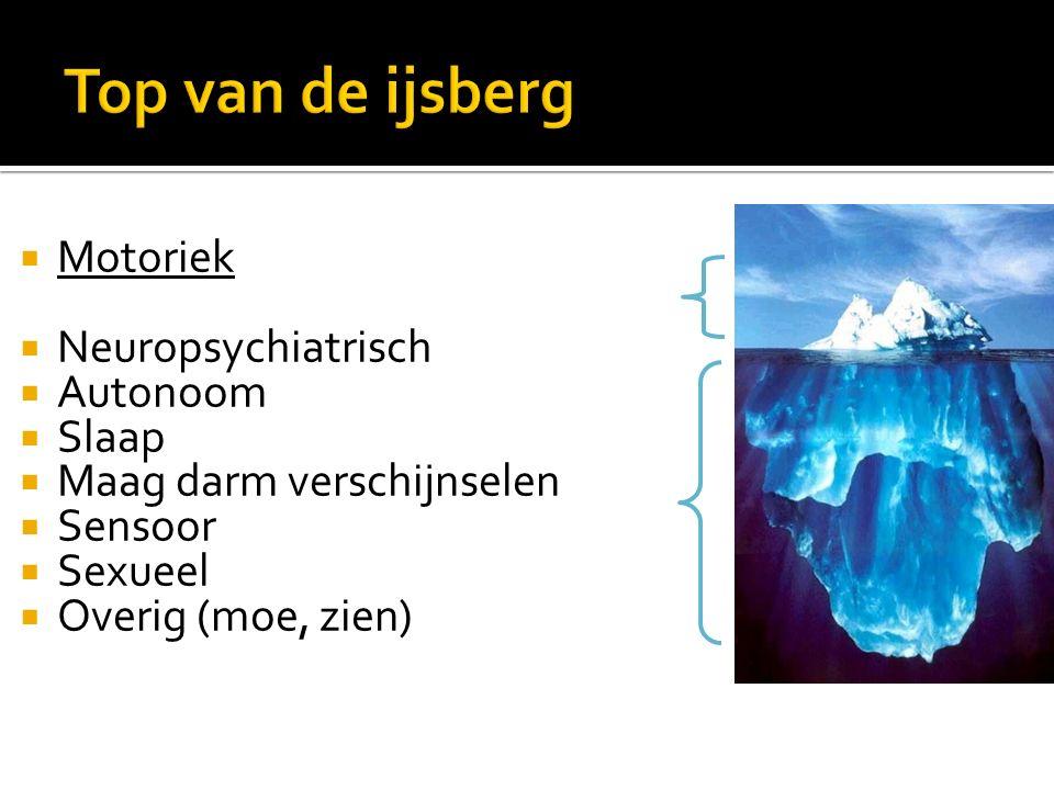 Top van de ijsberg Motoriek Neuropsychiatrisch Autonoom Slaap