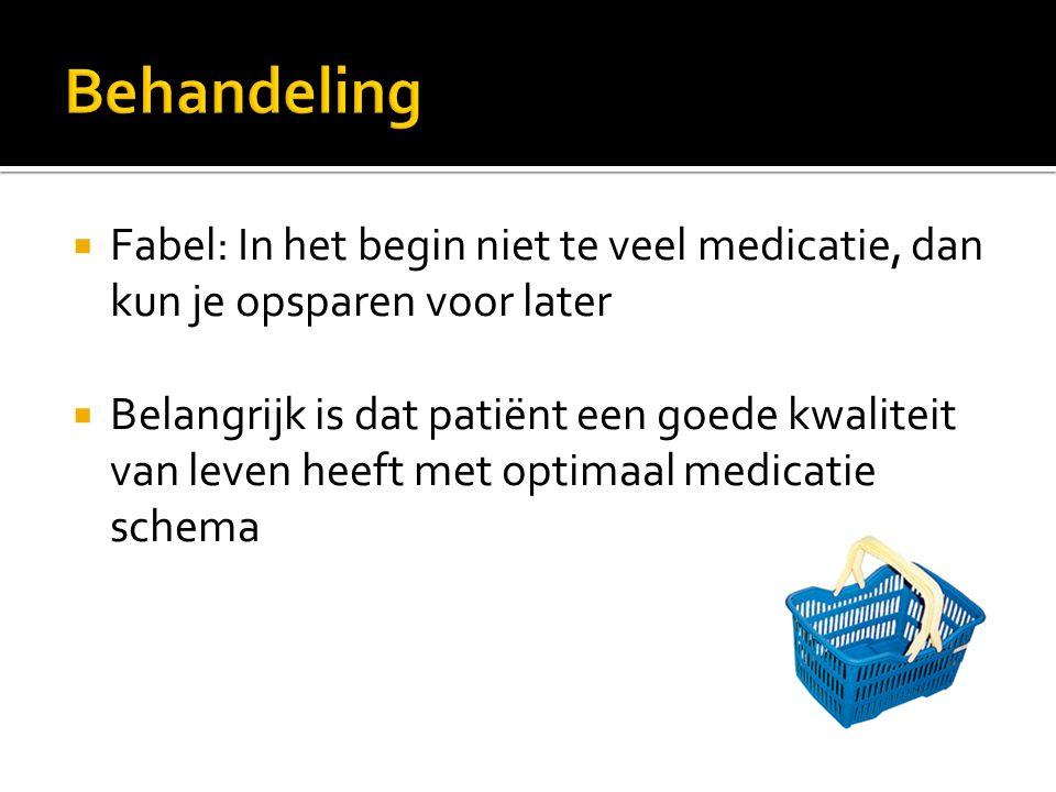 Behandeling Fabel: In het begin niet te veel medicatie, dan kun je opsparen voor later.