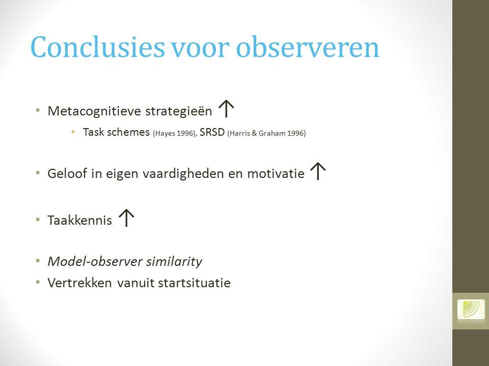 Conclusies voor observeren