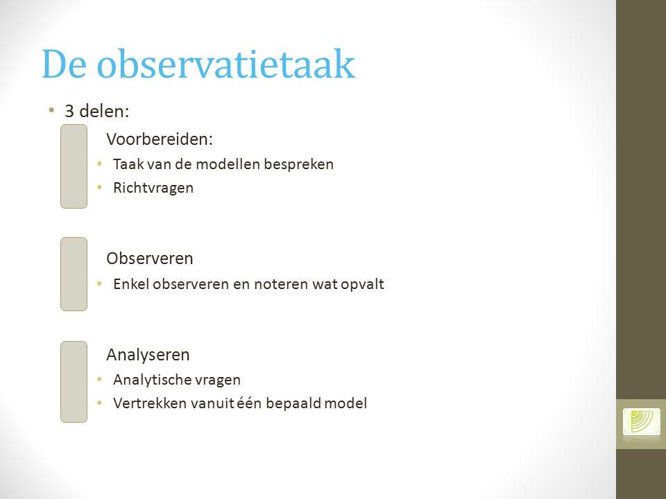 De observatietaak 3 delen: Voorbereiden: Observeren Analyseren