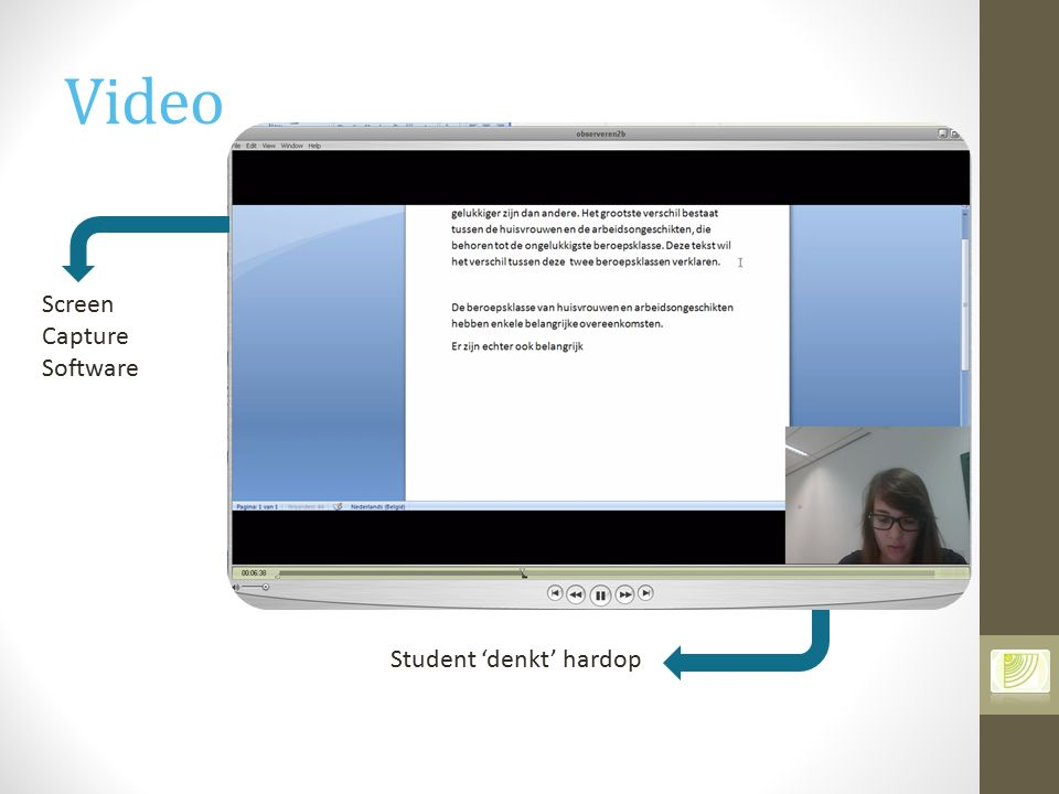 Video Screen Capture Software Student 'denkt' hardop