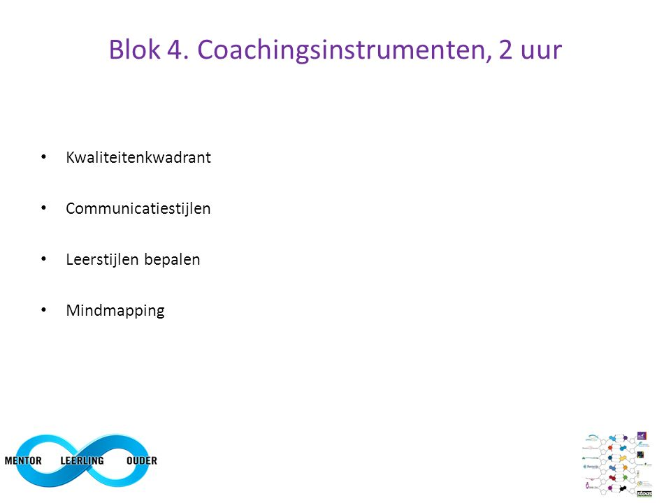 Blok 4. Coachingsinstrumenten, 2 uur