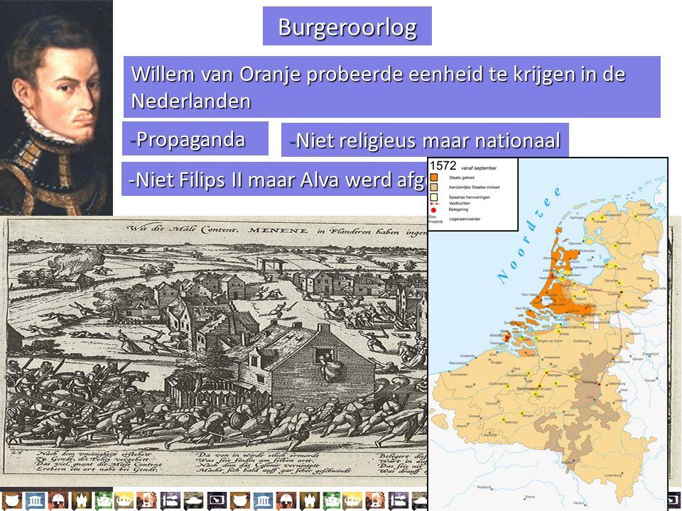 Burgeroorlog Willem van Oranje probeerde eenheid te krijgen in de Nederlanden. -Propaganda. -Niet religieus maar nationaal.
