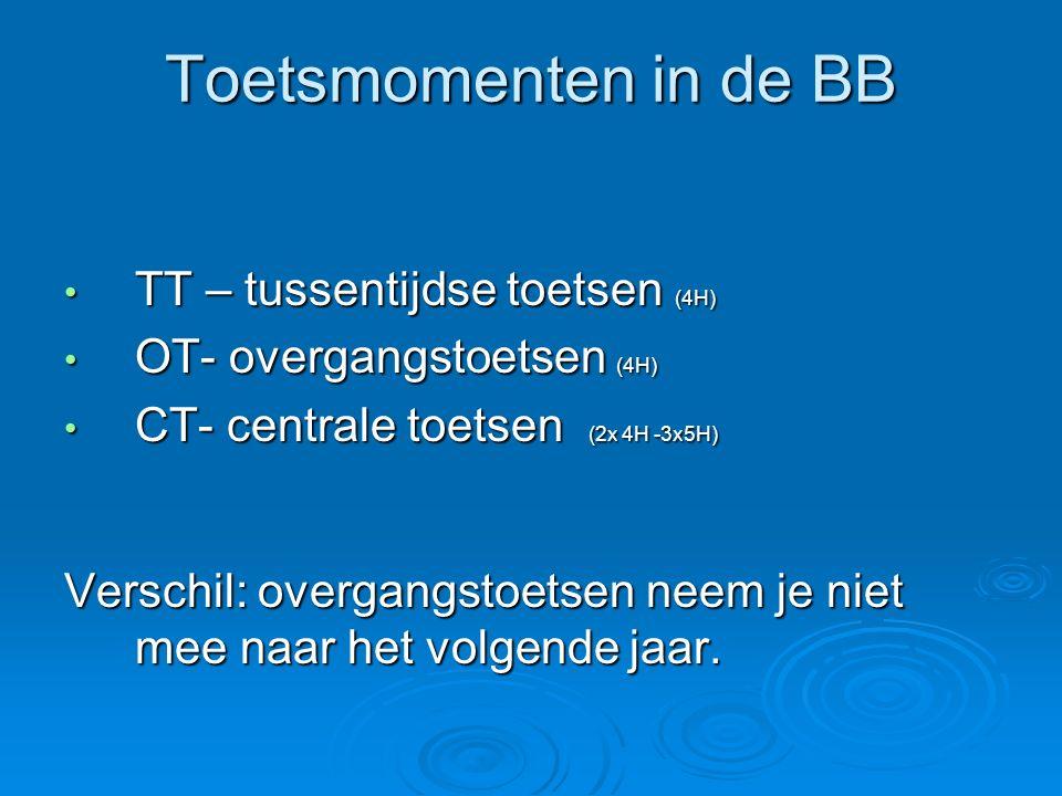 Toetsmomenten in de BB TT – tussentijdse toetsen (4H)