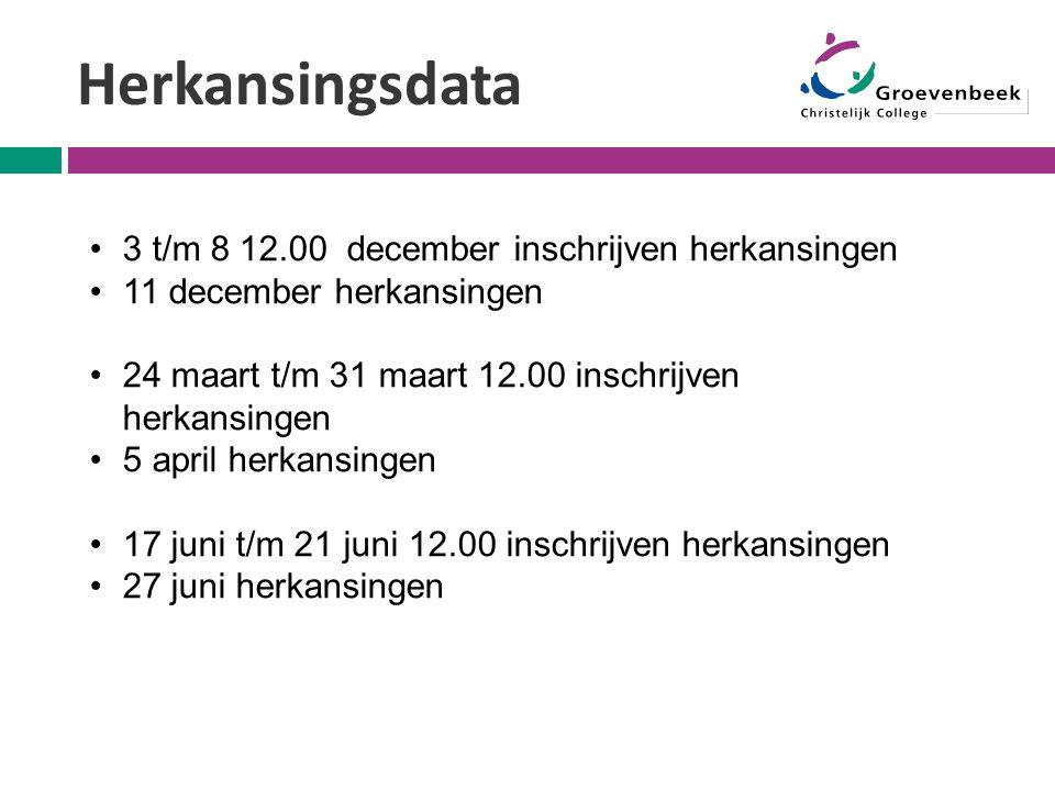 Herkansingsdata 3 t/m 8 12.00 december inschrijven herkansingen