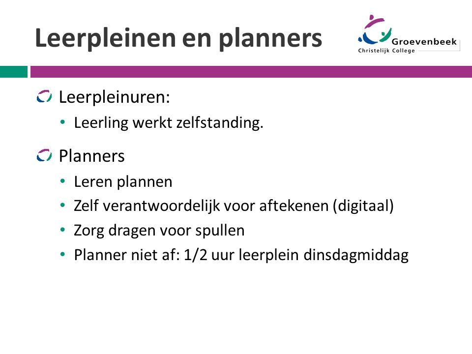 Leerpleinen en planners