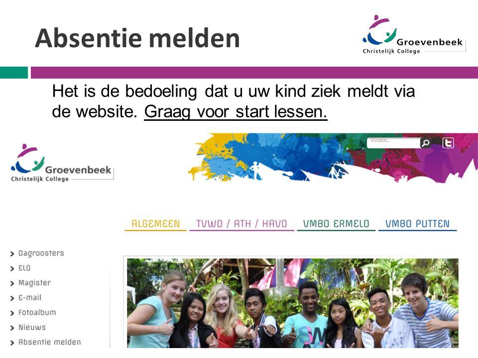 Absentie melden Het is de bedoeling dat u uw kind ziek meldt via de website.