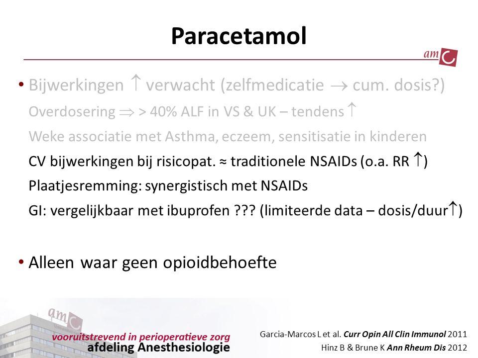Paracetamol Bijwerkingen  verwacht (zelfmedicatie  cum. dosis )