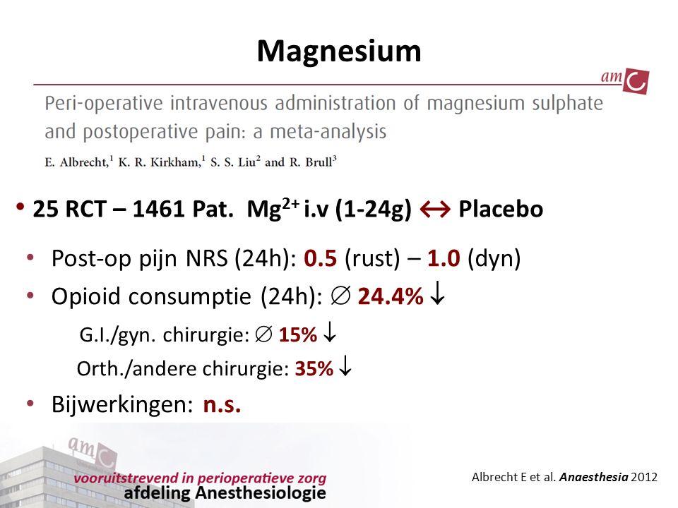 Magnesium 25 RCT – 1461 Pat. Mg2+ i.v (1-24g) ↔ Placebo