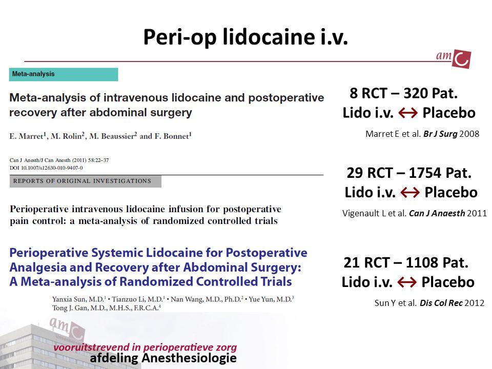 Peri-op lidocaine i.v. 8 RCT – 320 Pat. Lido i.v. ↔ Placebo