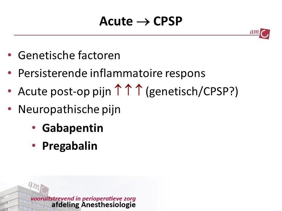 Acute  CPSP Genetische factoren Persisterende inflammatoire respons