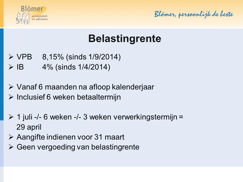 Belastingrente VPB 8,15% (sinds 1/9/2014) IB 4% (sinds 1/4/2014)