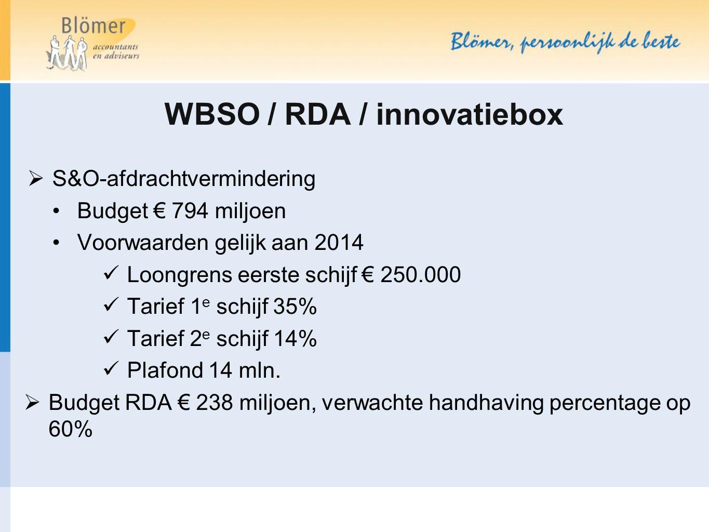 WBSO / RDA / innovatiebox