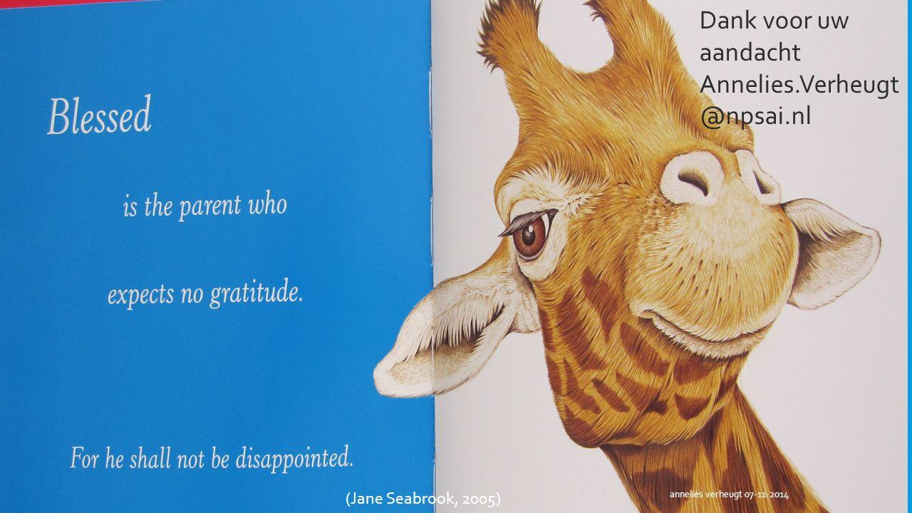 Dank voor uw aandacht Annelies.Verheugt@npsai.nl (Jane Seabrook, 2005)