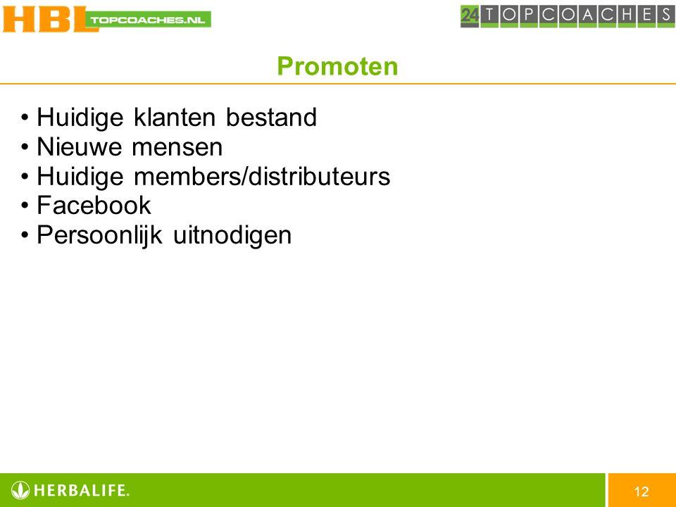 Huidige klanten bestand Nieuwe mensen Huidige members/distributeurs