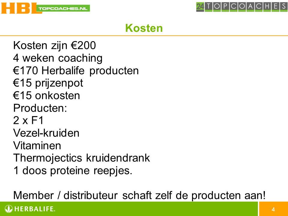 Kosten Kosten zijn €200 4 weken coaching. €170 Herbalife producten. €15 prijzenpot. €15 onkosten.