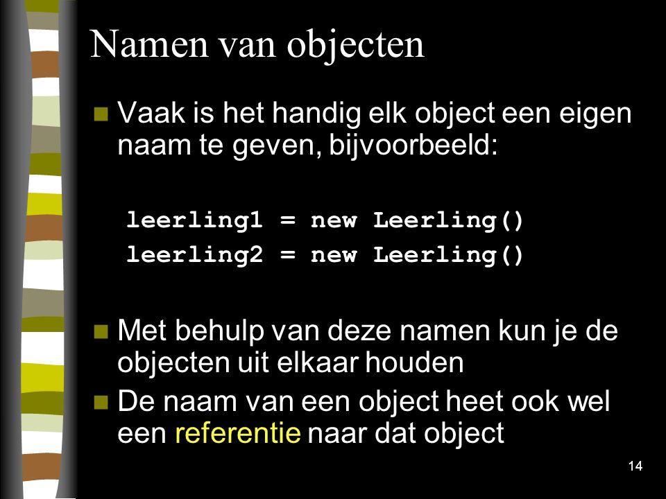 Namen van objecten Vaak is het handig elk object een eigen naam te geven, bijvoorbeeld: leerling1 = new Leerling()