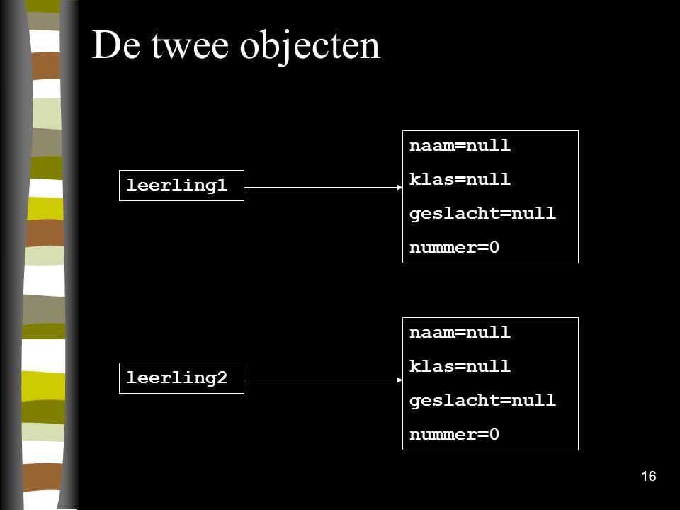 De twee objecten naam=null klas=null geslacht=null nummer=0 leerling1
