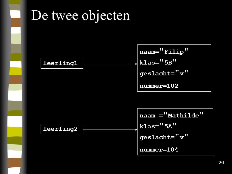 De twee objecten naam= Filip klas= 5B geslacht= v leerling1