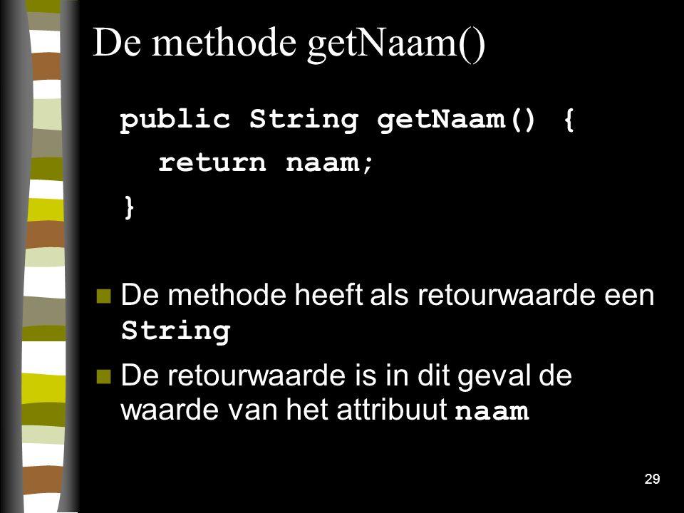 De methode getNaam() public String getNaam() { return naam; }