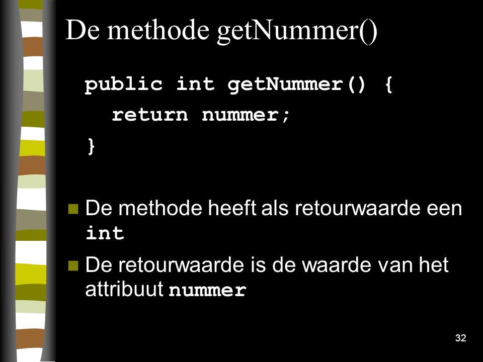 De methode getNummer()