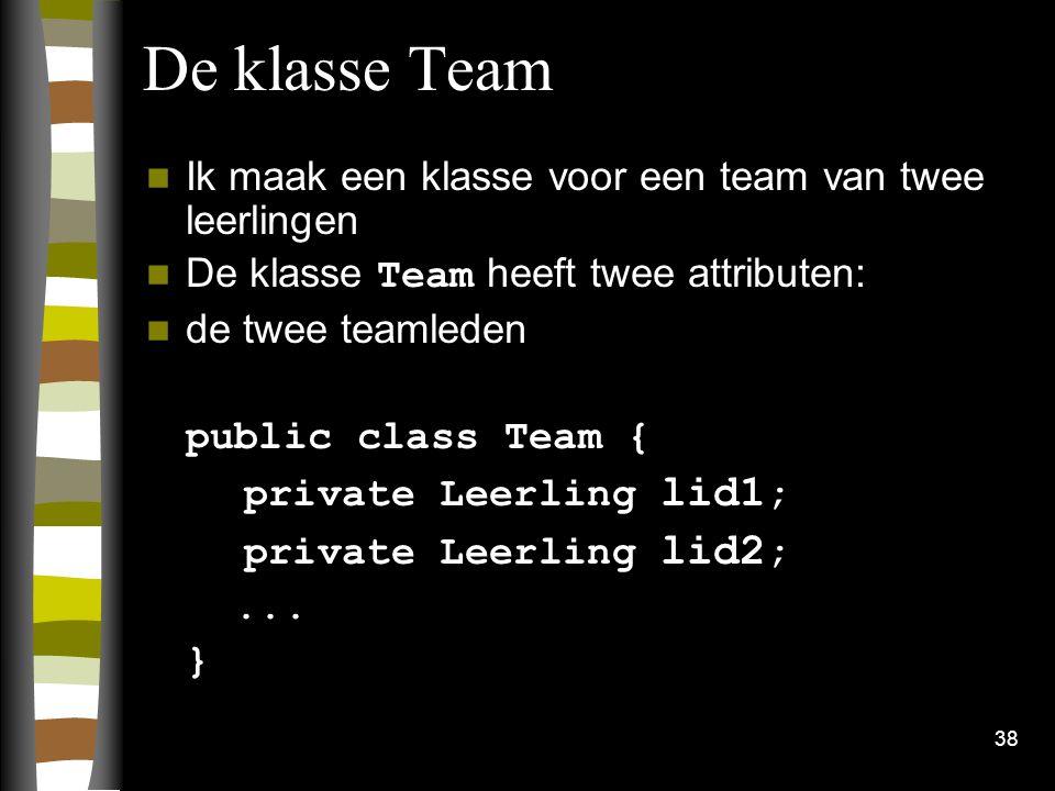 De klasse Team Ik maak een klasse voor een team van twee leerlingen