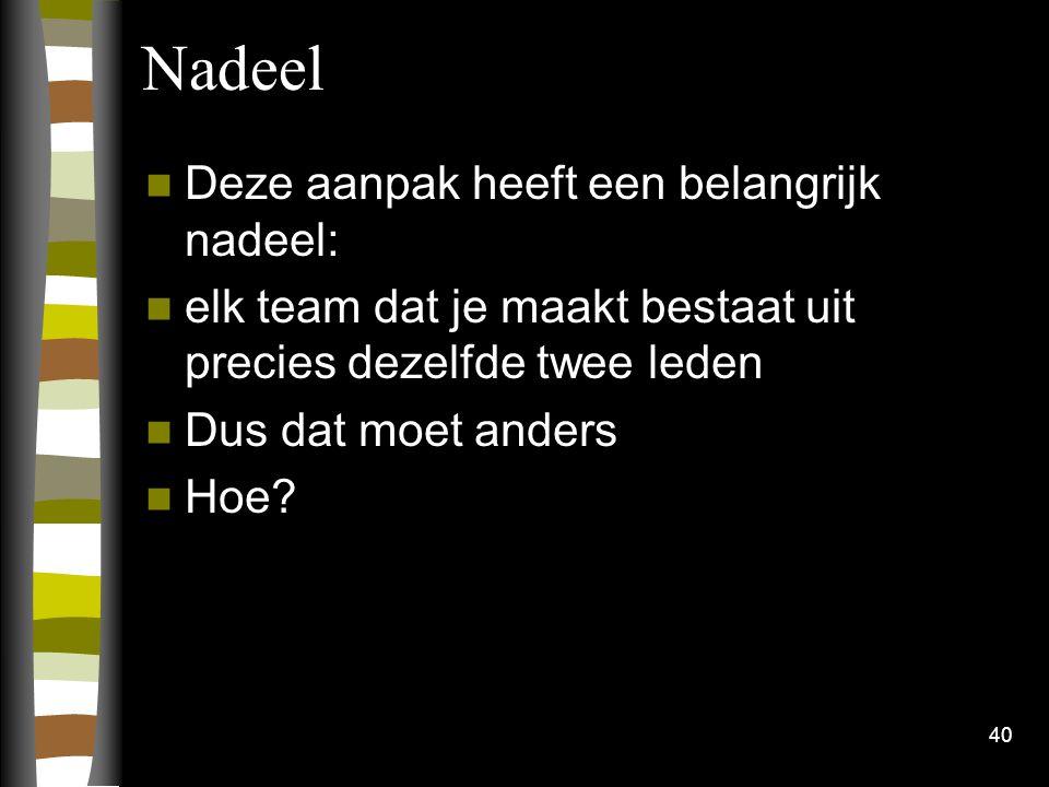 Nadeel Deze aanpak heeft een belangrijk nadeel:
