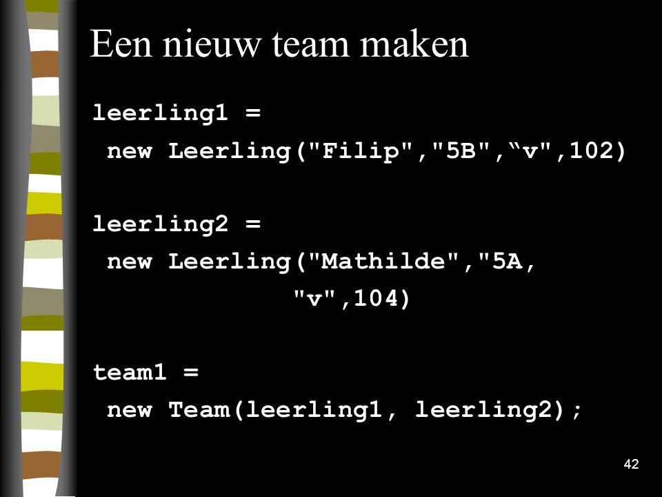 Een nieuw team maken leerling1 = new Leerling( Filip , 5B , v ,102)