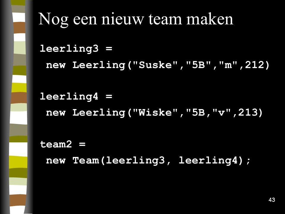 Nog een nieuw team maken