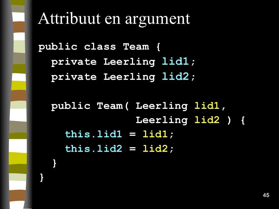 Attribuut en argument public class Team { private Leerling lid1;