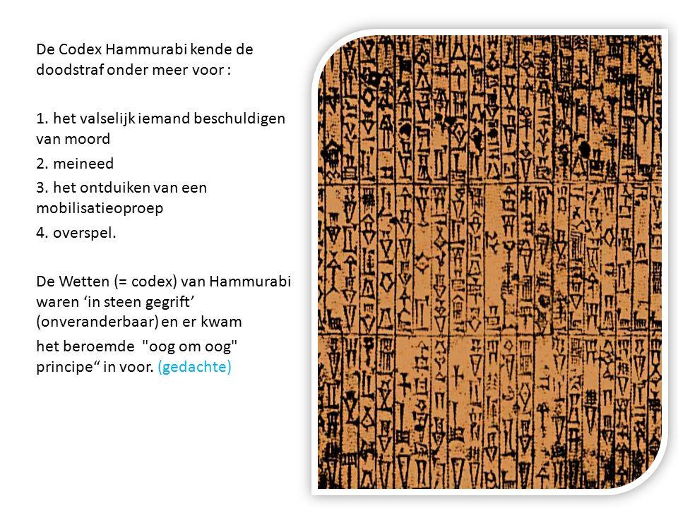 De Codex Hammurabi kende de doodstraf onder meer voor :